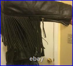 Unik Black Men's Leather Motorcycle Western Jacket Coat with Fringe & Conchos