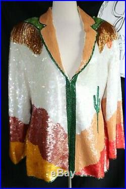 VGT Silk Sequin Beaded Western Blazer Cactus Desert Southwestern Jacket Large
