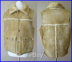Vintage Overland Sheepskin Co. Leather Fur Western Ranch Jacket Coat Vest Top L