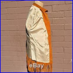 VTG 1970 Western Fringe Jacket Suede Coat Orange Rust Cowboy Rockabilly Hippie