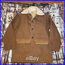 VTG 1970s Carhartt 42 Western Coat Barn Sherpa Lining 34CB Chore Jacket USA