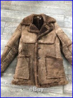 VTG 70s Brown Sheepskin Wool Shearling Marlboro Man Coat Western Hippy Jacket 38