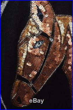 VTG 80's Black Sequin Beaded Horse Horseshoe Western Equestrian Novelty Jacket S