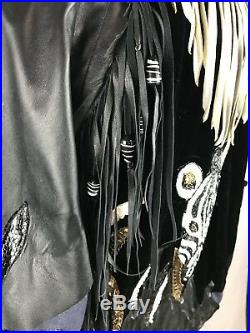 VTG 80's Neiman Marcus Beaded Zebra Western Denim Leather Rocker Jacket Fringe L