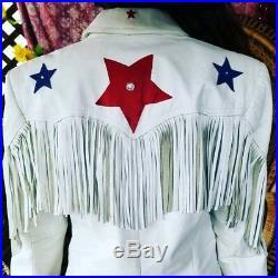 VTG 80s VINTAGE HIPPIE BOHO WESTERN STARS WHITE LEATHER FRINGE CAFTAN JACKET