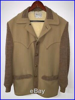 VTG H BAR C Mens Size 40 Large Faux Sherpa Tan Brown Western Cowboy Coat Jacket