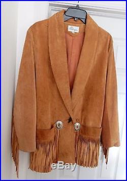 Vtg Melanzona Jacket Coat Suede Western Cowboy Fringe Conchos Tan Size M Rare