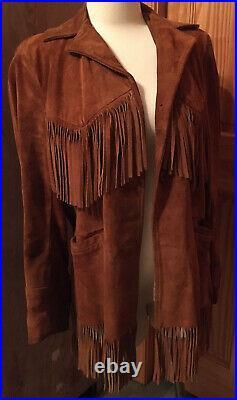 VTG Mid Western Sport Togs Southwest Fringe Jacket 100% Suede Leather Brown