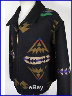 VTG Pendleton High Grade Western Wear Black Wool Coat Jacket Large