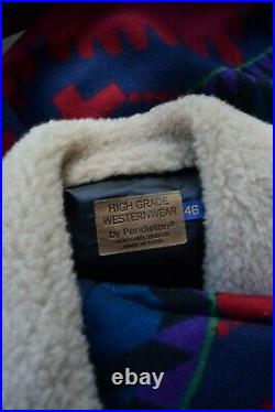 VTG Pendleton Shearling fur wool Aztec southwest blanket coat jacket ranch XL 46