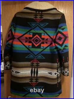 VTG Pendleton Western Wear Aztec Wool Blanket Sherpa Coat Jacket Mens 38