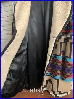 VTG Pendleton Western Wear Aztec Wool Blanket Sherpa Coat Jacket Mens 40 LG