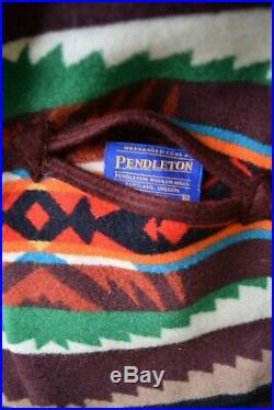 VTG Pendleton Wollen Mill wool Aztec southwest Mexican blanket coat jacket ranch