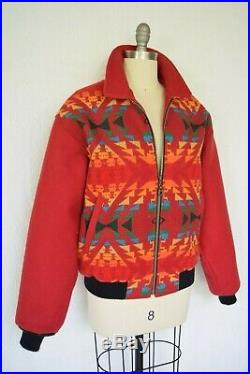 VTG Pendleton wool Aztec southwest Mexican blanket coat jacket bomber red Unisex