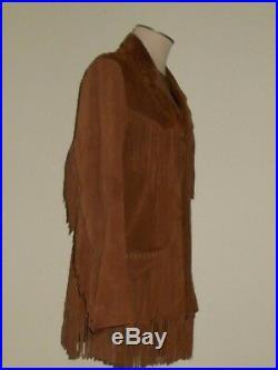 VTG Pioneer Wear Fringe Leather Jacket Coat Brown Suede Hippy Western
