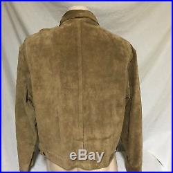 VTG Polo Ralph Lauren Suede Leather Jacket Button Front Western Coat Sport XL