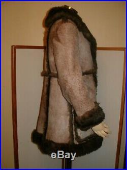 VTG Rancher Sheepskin Shearling Fur Jacket Coat women Size M/L estimated