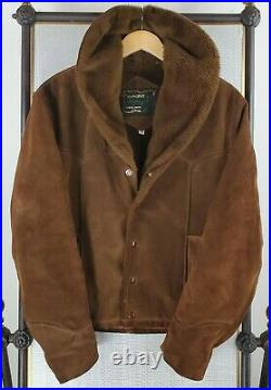 VTG SCHOTT BROS Size 38 Small Mens Suede Sherpa Western Rancher Trucker Jacket