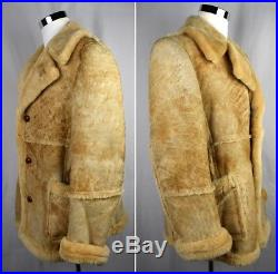 VTG SEARS Genuine Shearling Mountain Man Sheepskin Coat Western Marlboro 42 Tall
