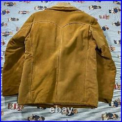 VTG Schott Bros Rancher Suede Sherpa Lined Western Jacket Coat Men's 40 Heavy