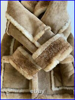 VTG Texas Tanning Shearling Sheepskin Leather Suede Ranch Coat Jacket XL