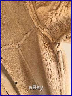 VTG Western sheepskin shearling mens leather coat jacket Sherpa Marlboro man