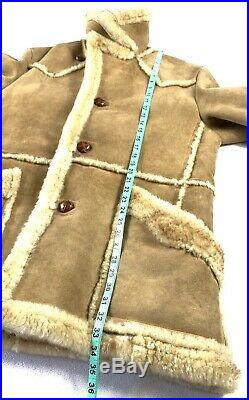VTG Wilsons Marlboro Man Shearling Sheepskin Leather Ranch Coat Jacket Sz 44 XL