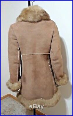 VTG Womens Genuine Shearling Fur Sheepskin Western Rancher Coat Jacket Sz S/M