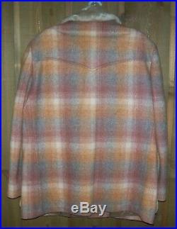 Vint Pendleton Wool Western Wear Jacket Coat Red Rust Plaid L XL EXTRA LARGE, 44