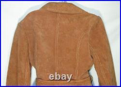 Vintage 1970's Coat Suede Leather Western Jacket Cow Hide Trench Belt Tie Boho