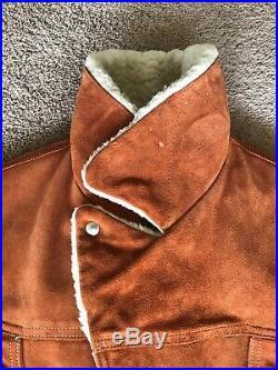Vintage 60s Grais Suede Sherpa Western Rancher Coat Moto Jacket Mens Size 38