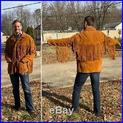 Vintage 70s Mens Jacket Suede Fringe Western cowboy Marlboro Man frontier M