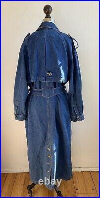 Vintage 80s 90s Denim Jean Duster Trench Jacket Coat Work Chore Heavyweight