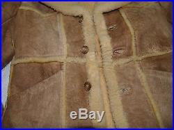 Vintage 80s Marlboro Man Shearling Coat Mens SZ 42 Sheepskin Western Jacket