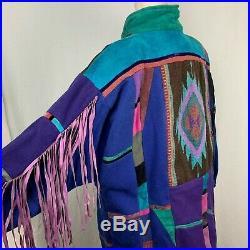 Vintage 90s Santa Fe Recreations L Coat Jacket Fringe Southwestern Aztec