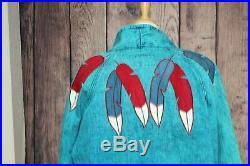 Vintage Acid Wash Jean Jacket Duster Coat Feather Western Native American Large