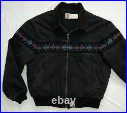 Vintage Carhartt Jacket Coat Black 2XL Aztec Western USA Made JQ0505 Work Chore