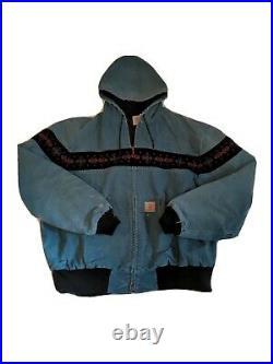 Vintage Carhartt Tribal Aztec Southwest Distressed Blue Jacket Coat Mens Large L