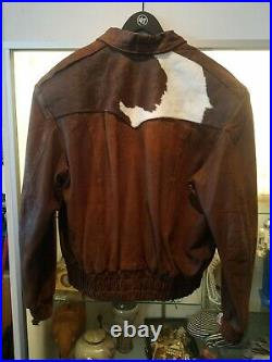 Vintage Chambers By Charlie Russell Riders Leather and cowhide Jacket Mens XXL