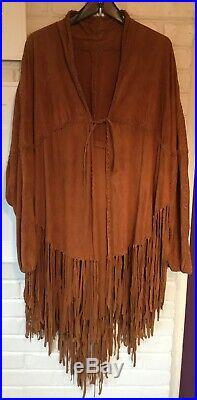Vintage Handmade Western Native American Boho Hippie Fringe Jacket/Coat Suede