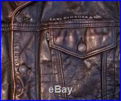 Vintage Levi Strauss Western Wear Type 3 Bovine Brown Leather Trucker Jacket M