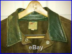 Vintage Levis 1950's Western Wear Brown Suede, Green Collar Trucker Jacket Medium