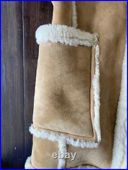 Vintage Men's Shearling Sheepskin Leather Ranch Western Coat Jacket Size 42