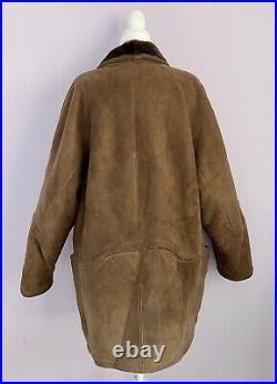 Vintage Mens 50 XL / XXL Shearling Sheepskin Coat Jacket Marlboro Man Dark Brown