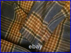 Vintage Mens Plaid Wool Coat Sherpa Trim Western Ranch Barn Jacket sz 44 LG USA