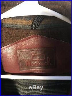 Vintage Mens WOOLRICH Striped Western Blanket Wool Button Coat Jacket LARGE L