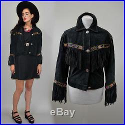 Vintage Navajo Ethno FRANSEN Western Jacke Indianer Poncho Hippie 70er Boho S 34