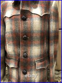 Vintage PENDLETON COAT High Grade WESTERN Wear WOOL Jacket Shadow Plaid