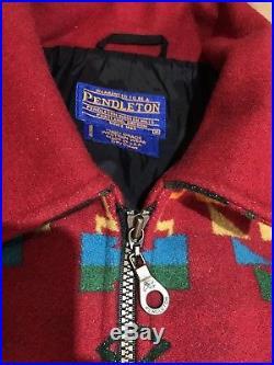 Vintage PENDLETON High GRADE WESTERN Wear WOOL BLANKET COAT NAVAJO JACKET M