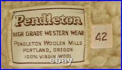 Vintage PENDLETON High Grade WESTERN WEAR SHERPA LINED WOOL BLANKET JACKET Coat